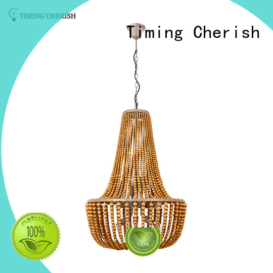 Timing Cherish oval wood bead chandelier supplier for living room