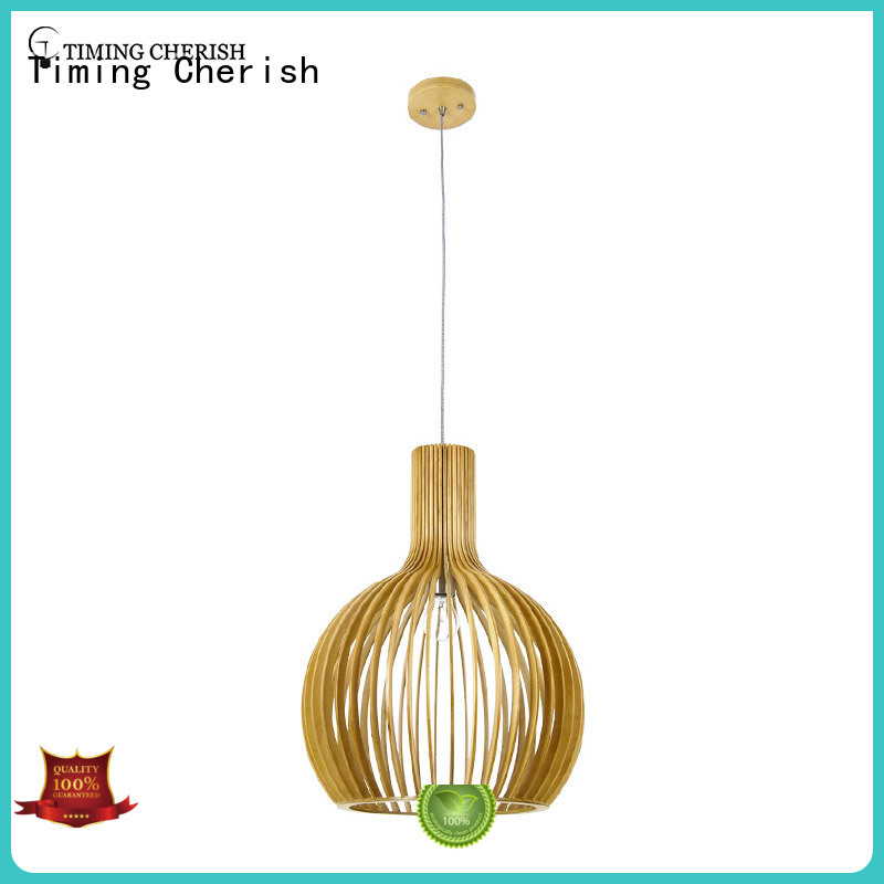 Timing Cherish wood natural pendant light woven for living room