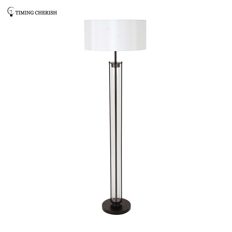 Alps 1 Light H1610MM Glass Floor Lamp in Black/Chrome with White Shade