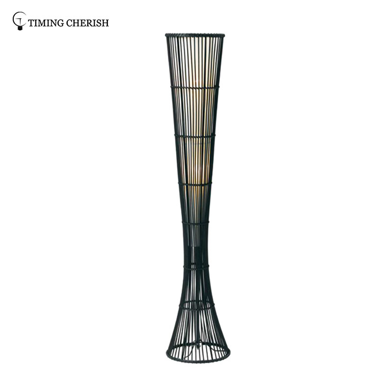 Himalayan 2 Light H1400MM Cup Hand Woven Wicker Floor Lamp in Black