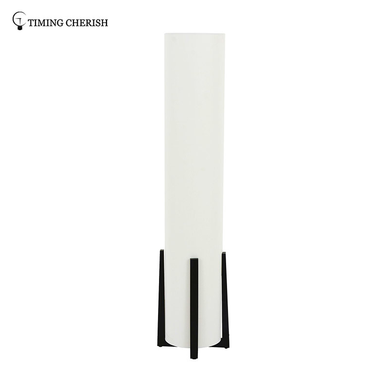 Everest 3 Light H1200MM  Stylish Cylinder  Floor Lamp with Black Timber Base and White Shade