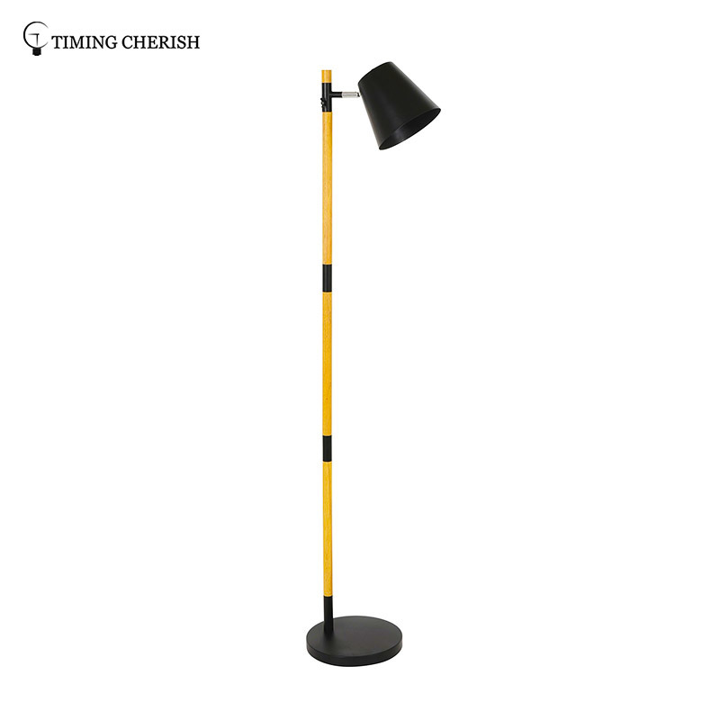 Krohns 1 Light H1620MM Adjustable Head Natural wood Floor Lamp in White/Black