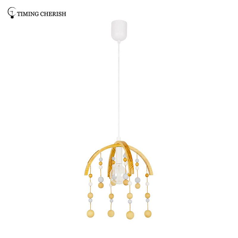 Kakadu Lovely 1 Light D400MM H380MM Coloured Beads Hanging Pendant Lamp in Natural Wood