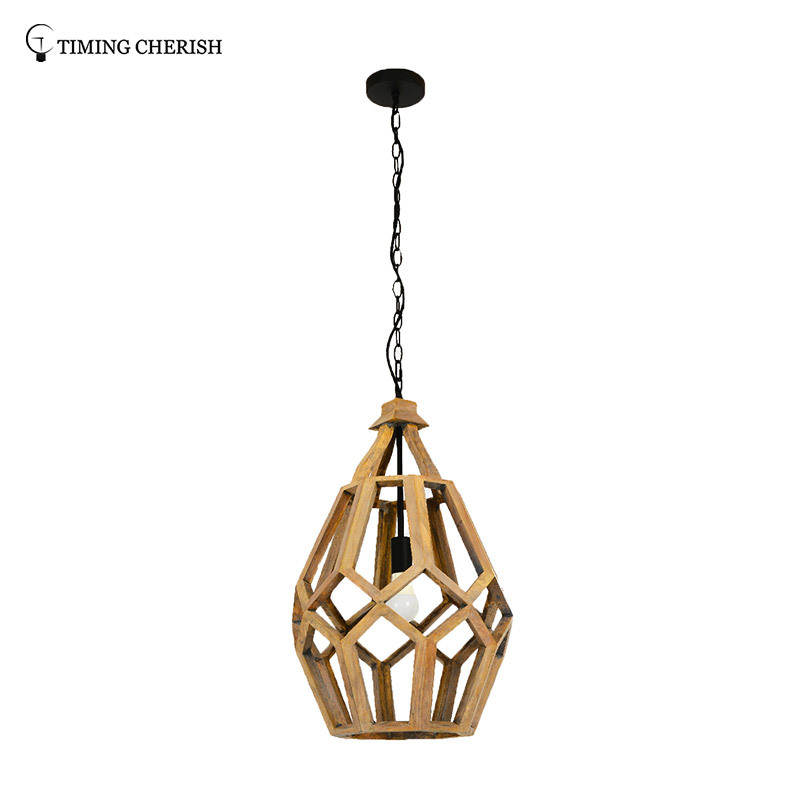 Fenske 1 Light H660MM Polytope Light Grey Wood Hanging Pendant Light