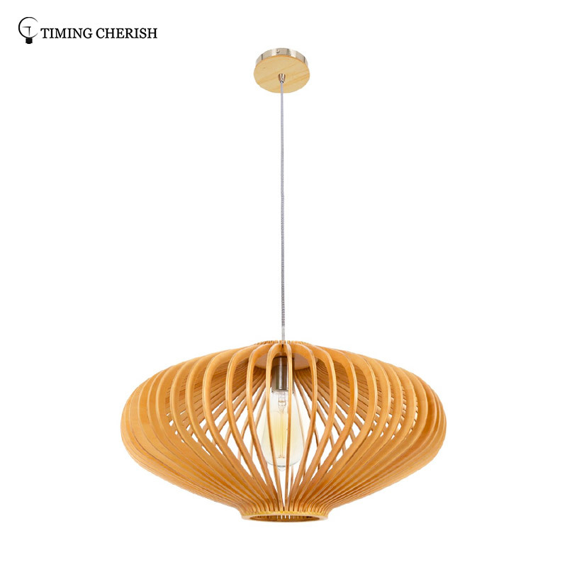 Handmade Hanging Pendant Light in Natural Wood Frisbee 1 Light D360MM