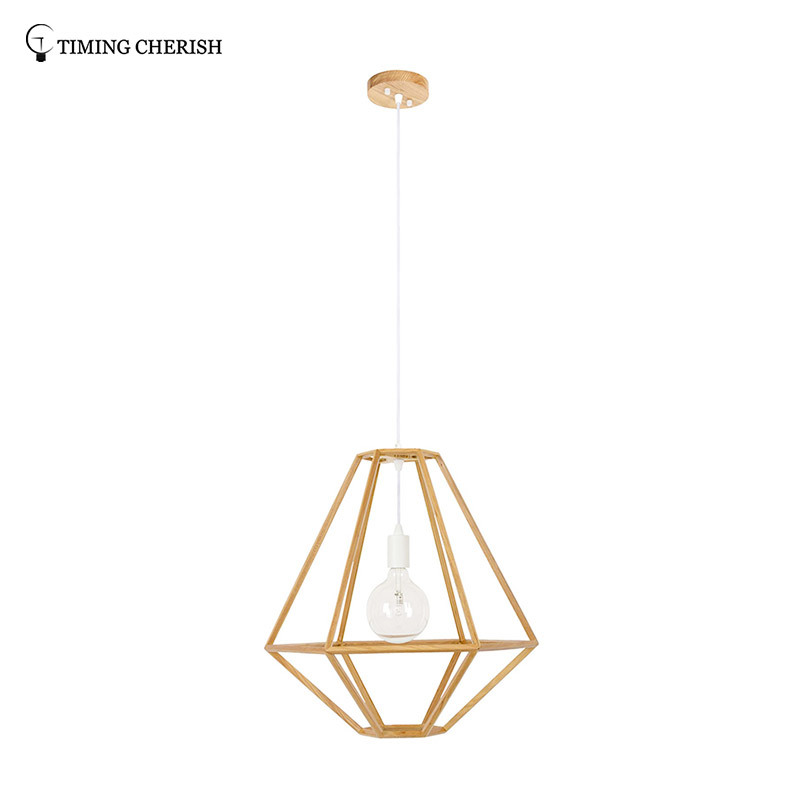 Lucky 1 Light D530MM H560MM Wood Pendant Lamp in Wood Natural / Black