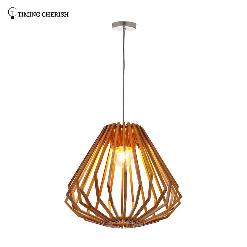 Diamond 1 Light Beautifully Crafted Squat Timber Pendant Light in Natural