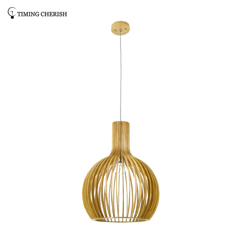 Echo 1 Light D450MM Modern Pendant Lamp in Natural Wood