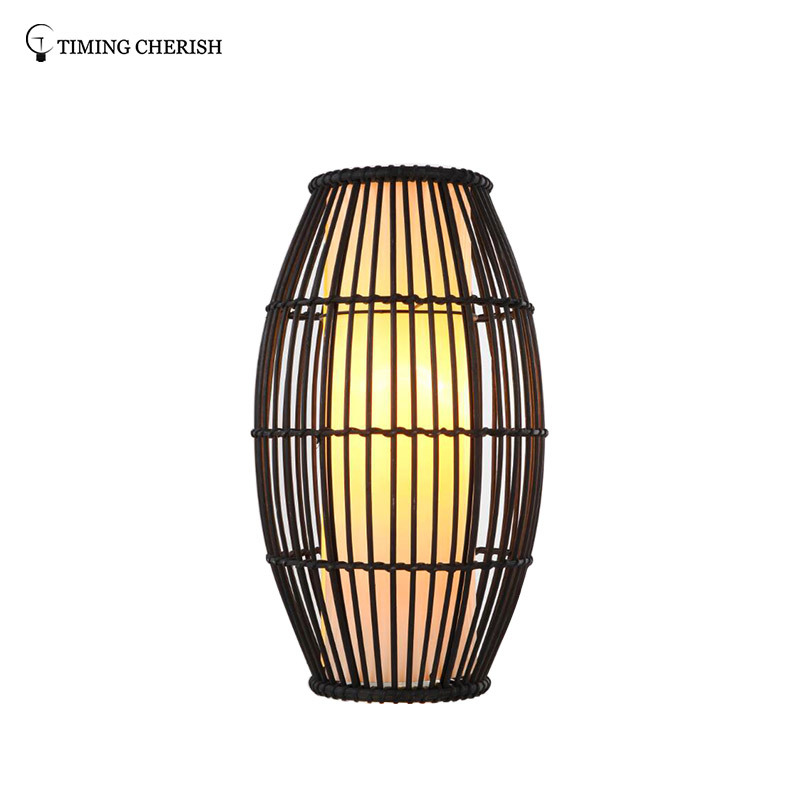 Himalayan 1 Light H440MM Rugby Hand Woven Rattan Table Lamp in Black