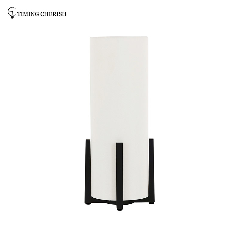 Everest 1 Light H470MM Modern Cylinder Table Lamp with Black Timber Base and White Shade