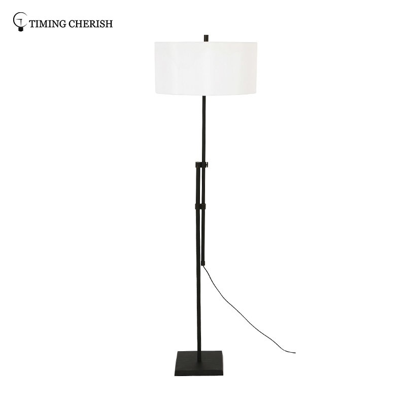Larrabee 1 Light H1800MM Adjustable Metal Floor Lamp in Antique Black/ Antique Nickel with Off-White Shade