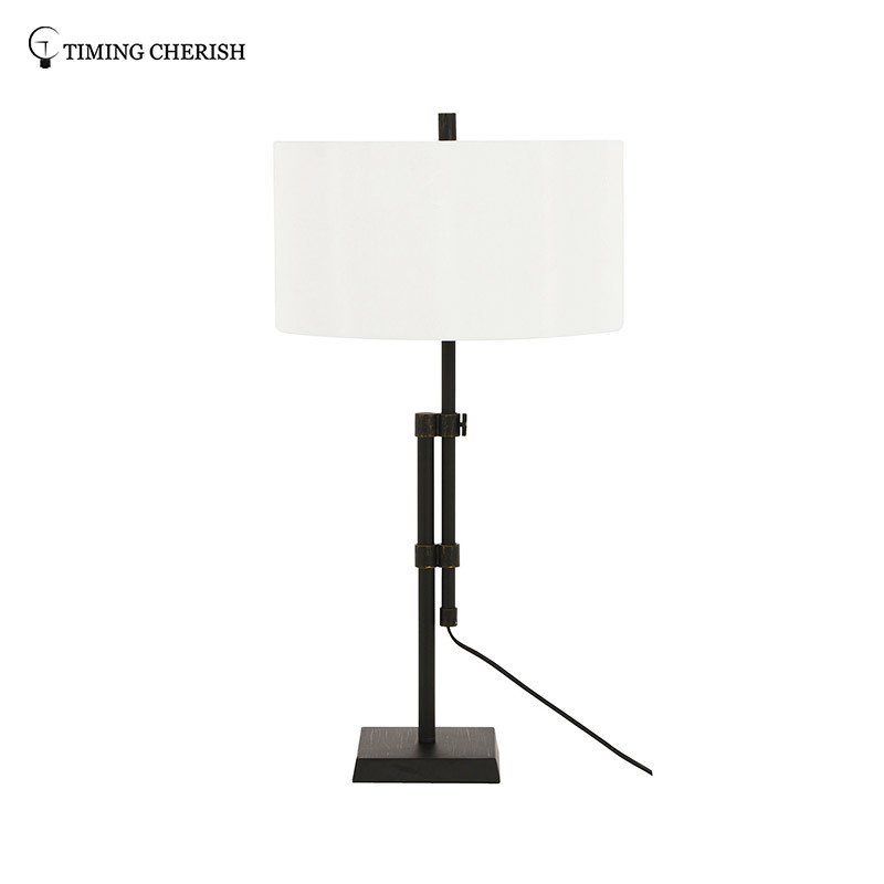 Larrabee 1 Light H770MM Adjustable Metal Table Lamp in Antique Black / Antique Nickel with Off-White Fabric Shade