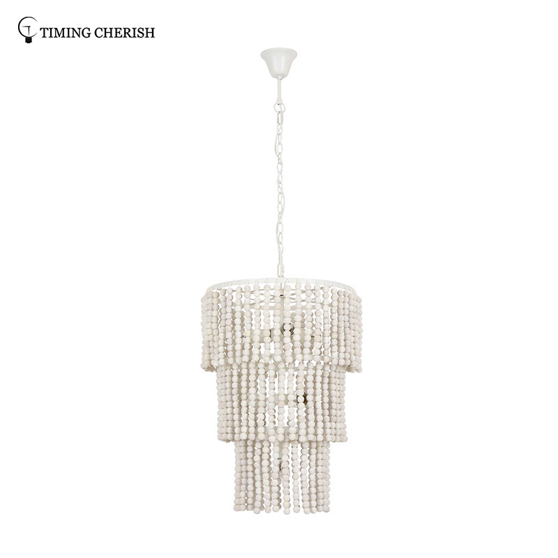 Baikal D450MM 6 Light 3-Tier Wood Beads Pendant Chandelier in Black / White Wash