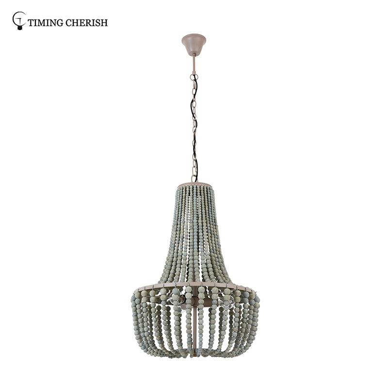 Baikal D500MM 3 Light Gourd Wooden Beads Pendant Chandelier in Black/French Grey/White Wash/Natural