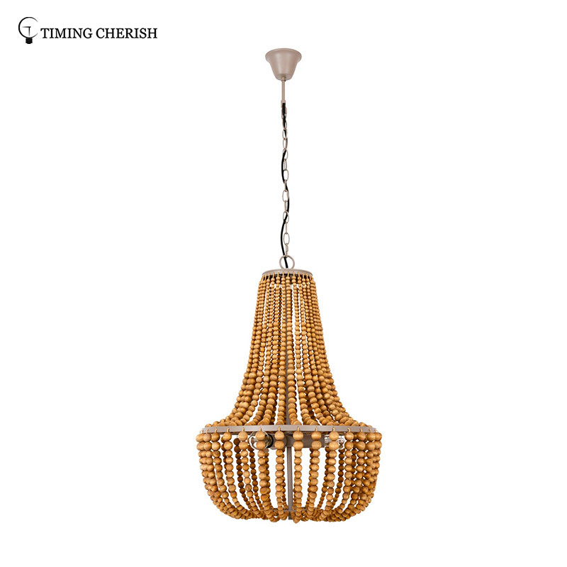 Baikal D500MM 3 Light Gourd Wooden Beads Pendant Chandelier in Black/French Grey/White Wash/Natural