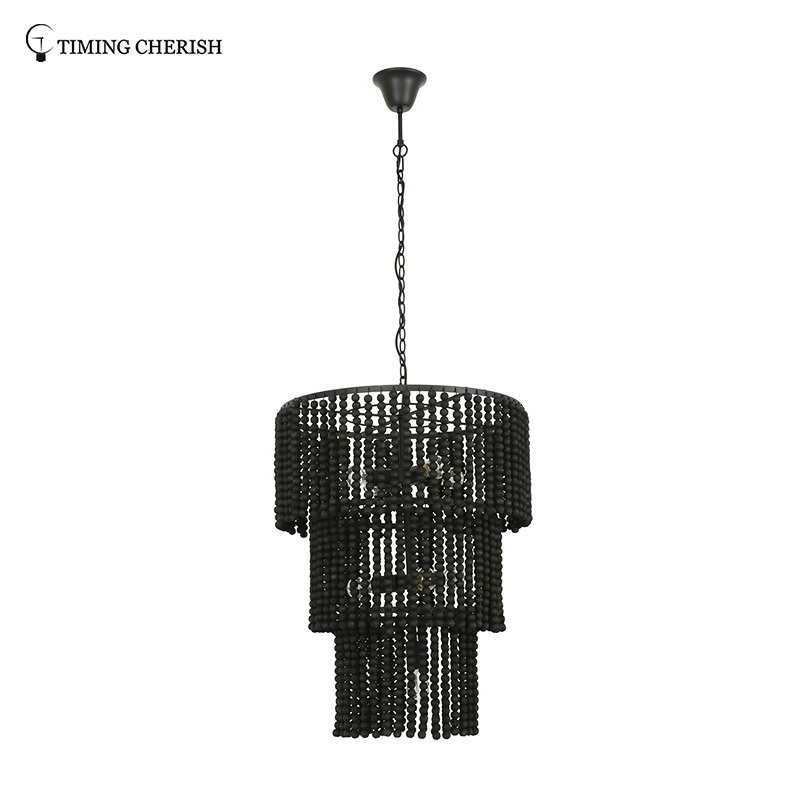 Baikal D600MM 8 Light 3-Tier Wood Beads Pendant Chandelier in Black / White Wash