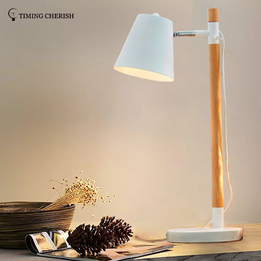 Krohns 1 Light H615MM Adjustable Head Natural wood Table Lamp in White / Black