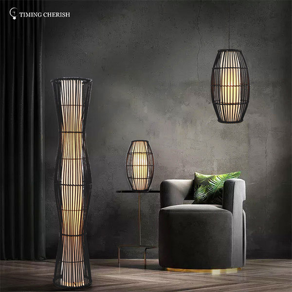 Himalayan 2 Light H1100MM Hand Woven Wicker Floor Lamp in Black