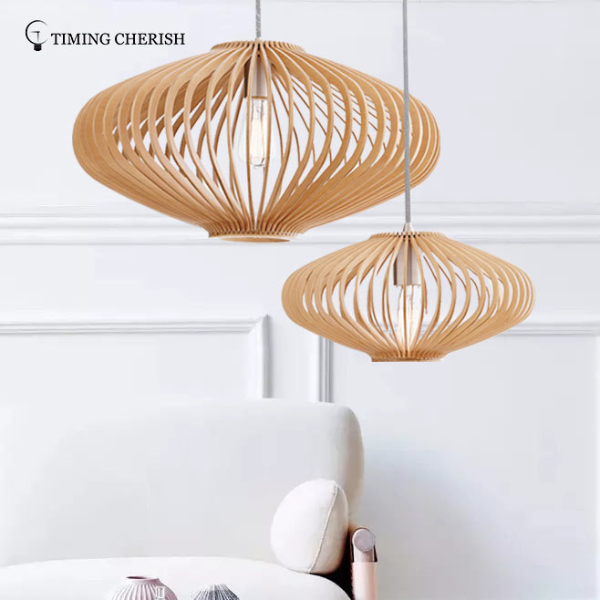 Frisbee 1 Light D580MM Hanging Pendant Lamp in Natural Wood