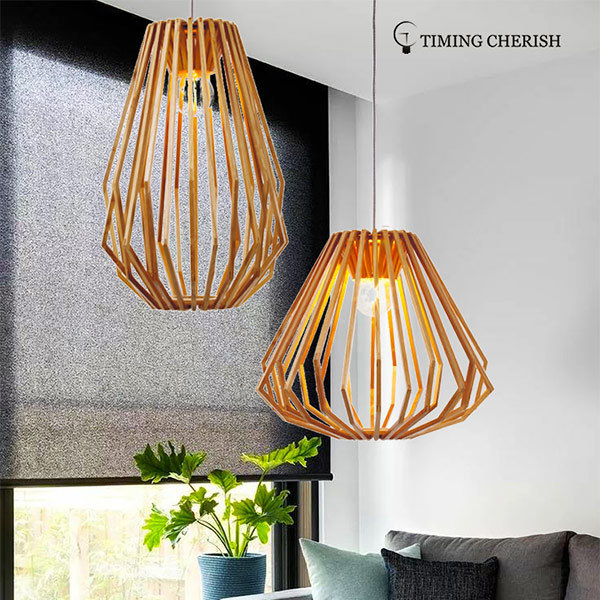 Diamond 1 Light Beautifully Crafted Tall Wood Pendant Light in Natural