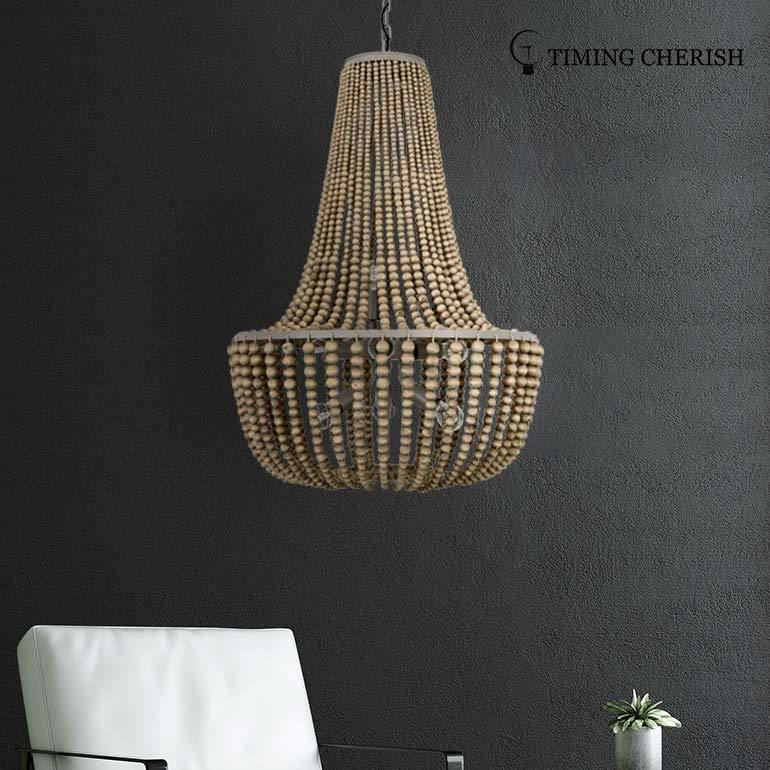 Baikal D650MM 8 Light Gourd Wooden Beads Pendant Chandelier in Black/French Grey/White Wash/Natural
