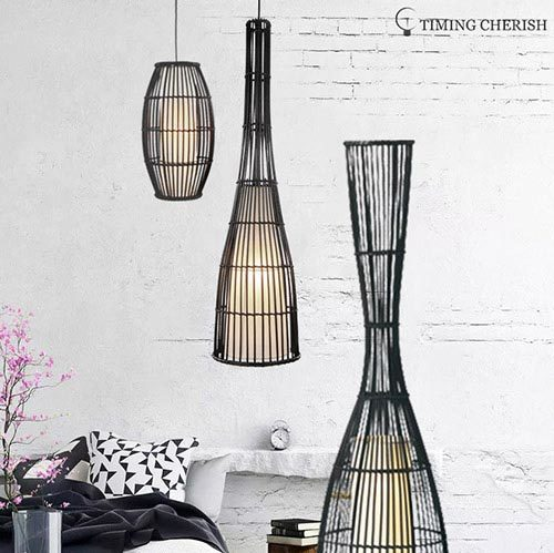 Himalayan 1 Light H760MM Torch Hand Woven Rattan Pendant Lamp in Black