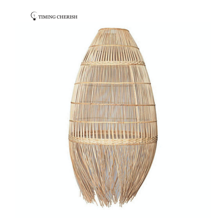 Visio Handcrafted Weaving Natural Rattan Pendant Light Shade with Fringes