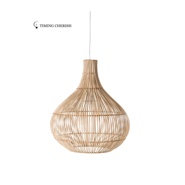 Cornell Wicked Handmade Rattan Recycled Materials Pendant Light Natural Color, Black Finish