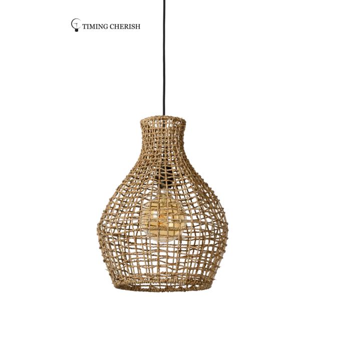 Noko 1 Light Seagrass Woven Pendant Lamp in Black or Natural 2021 Lighting trends