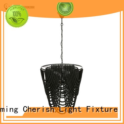 modern wood bead chandelier supplier for living room