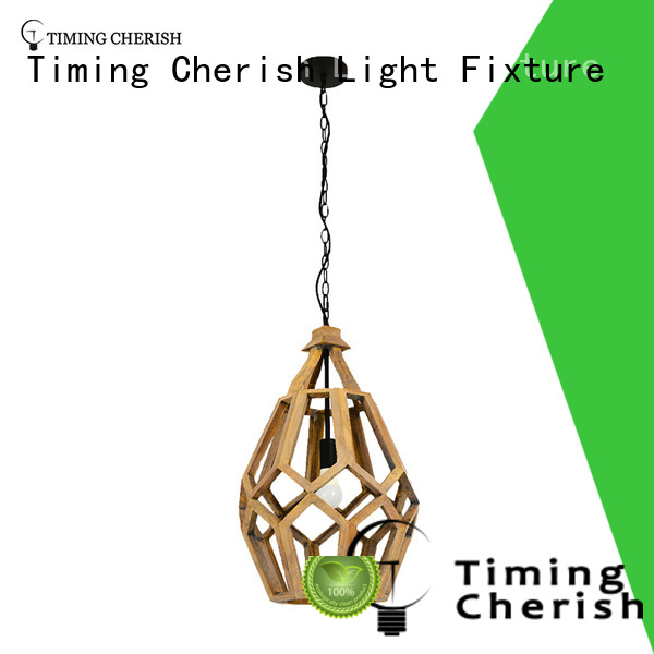 Timing Cherish macrame wood pendant light supply for hotel