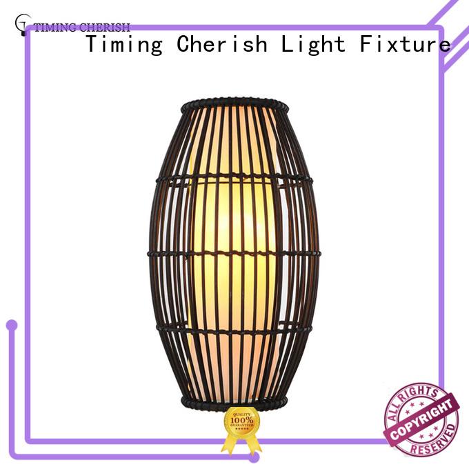 rattan wood table lamp shade for hotel Timing Cherish