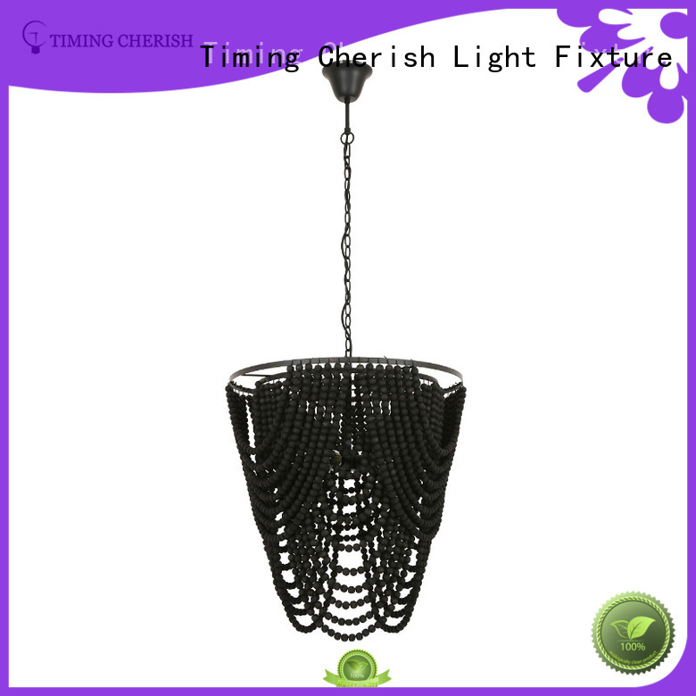 Timing Cherish natural wood bead chandelier suppliers for shop