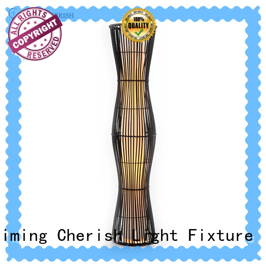 Timing Cherish black wicker floor lamp factory for living room