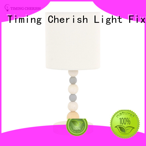 Kakadu 1 Light H445MM Colored Beads Table Lamp with White Timber Base and Linen Shade