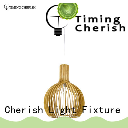 Timing Cherish weaving cotton timber pendant light suppliers for hotel