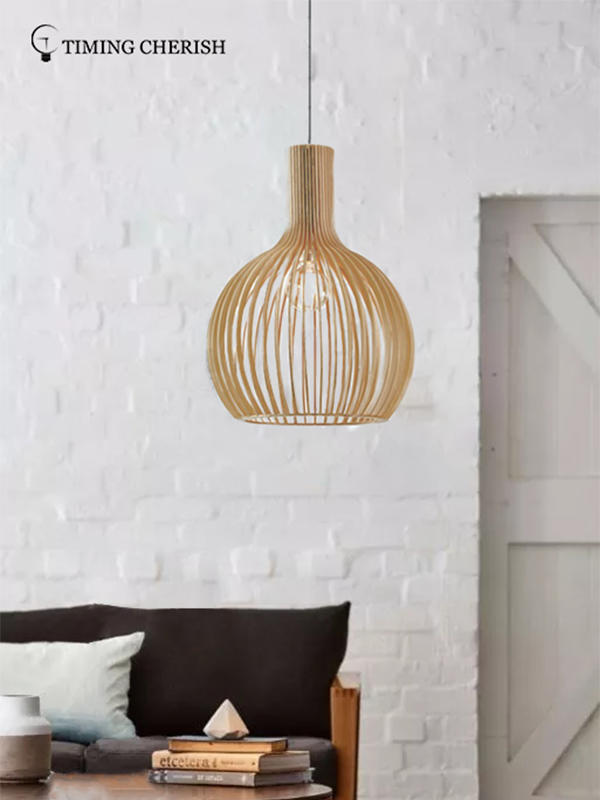 Timing Cherish weaving cotton timber pendant light suppliers for hotel-1