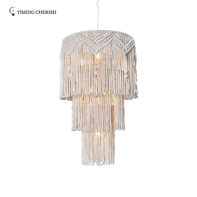 Eva Large 8 Light H1150MM Handmade 3-Tier Cotton Macramé Fringed Pendant Chandelier