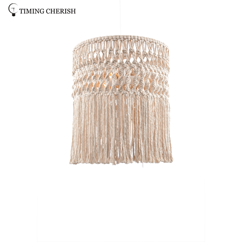 Eva 3 Light Handcrafted Weaving Cotton Cord Macrame Fringed  Boho  Pendant  Ceiling  Light
