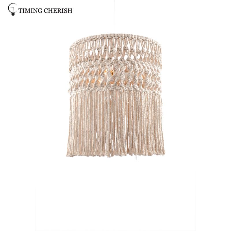 Eva 3 Light Handcrafted Weaving Cotton Cord Macrame Fringed  Boho  Pendant  Ceiling  Light