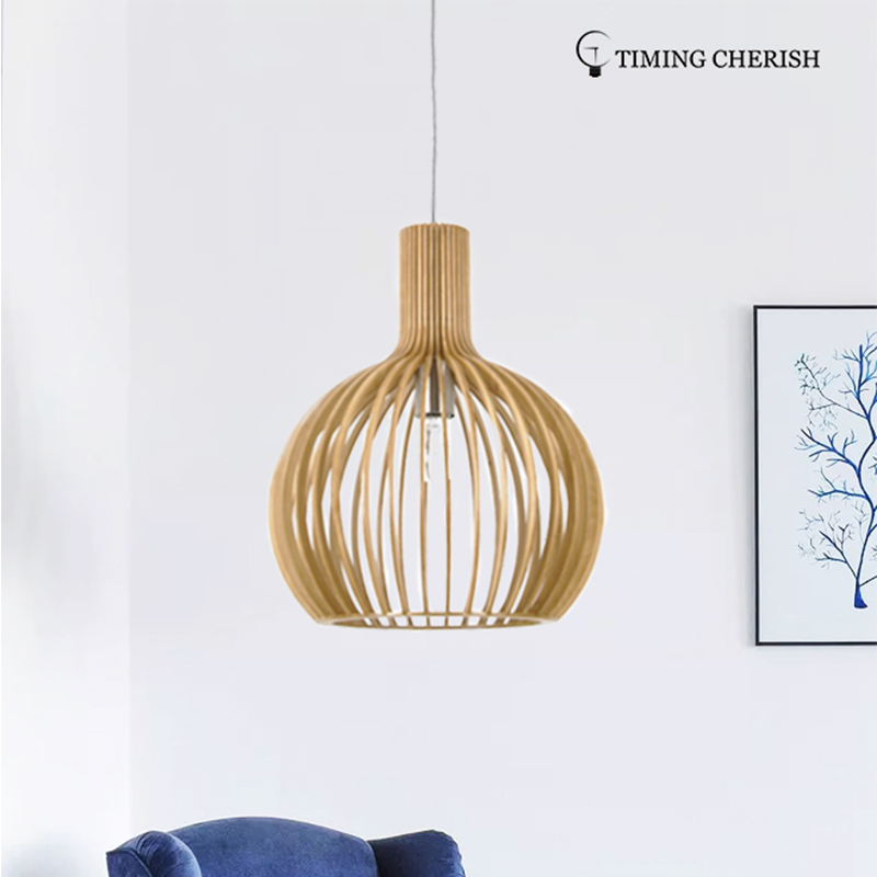 Handmade Modern Pendant Ceiling Lamp in Natural Wood Echo 1 Light D350MM