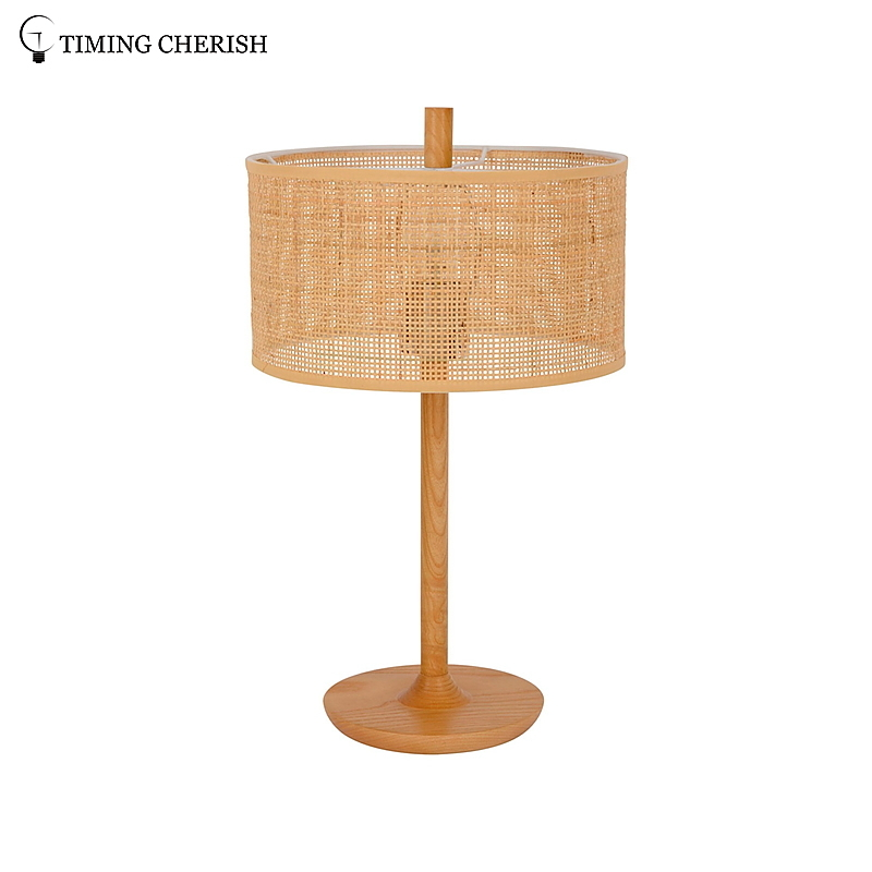 Rhine 1 Light Handmade Wood and Wicker Modern Chic Table Lamp in Natural Wood