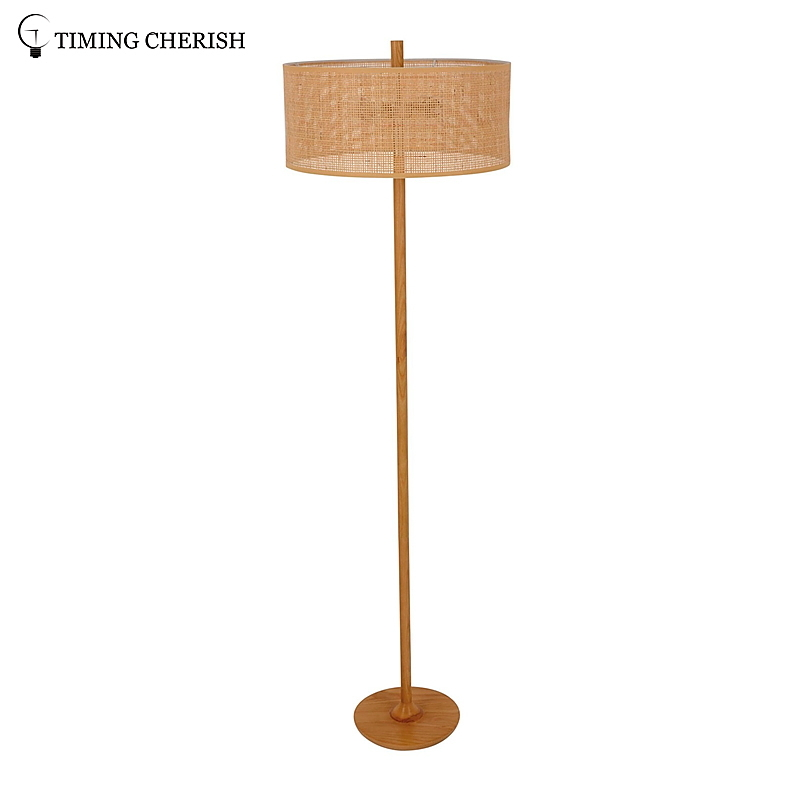Rhine 2 Light Natural Wood and Tan Wicker Modern Floor Standing Lamp in Natural Wood