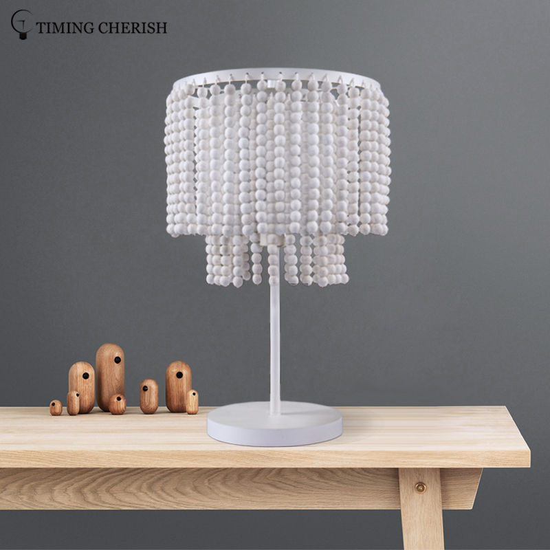 Baikal 1 Light H525MM 2-Tier Wooden Beads Table Lamp in Black/French Grey/White Wash/Natural