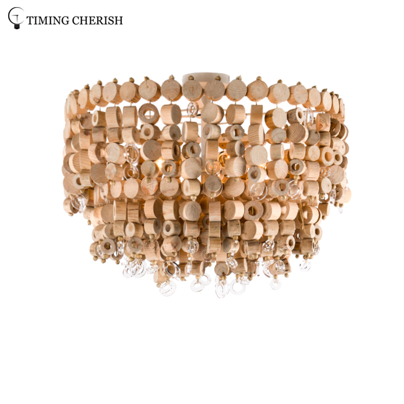Exclusive Octave 5 Light Handmade 2-Tier Wood Chip Modern Ceiling Light in Wood Natural