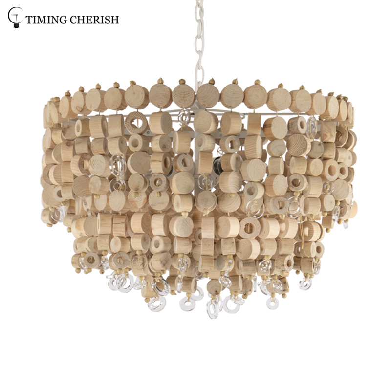 Exclusive Octave 5 Light Handmade 2-Tier Wood Chip Modern Pendant Lamp in Wood Natural