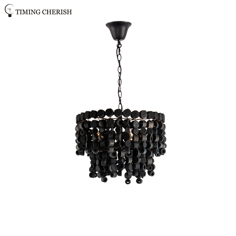 Exclusive Octave 3 Light Handmade Wooden Round Block Hanging Pendant Light in Black