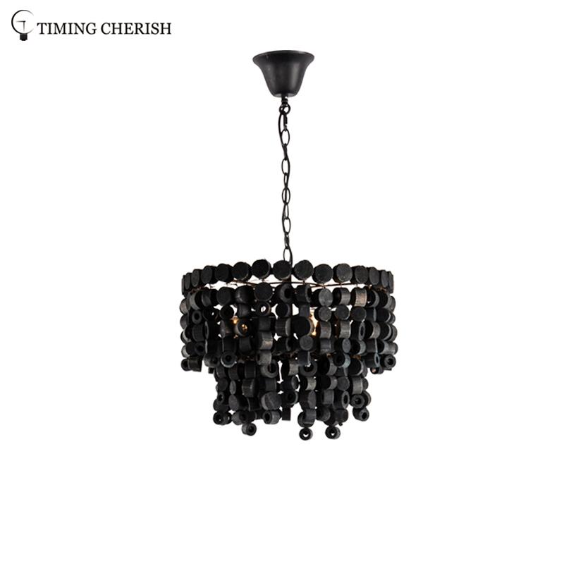 Exclusive Octave 3 Light Handmade Wooden Round Block Hanging Pendant Light in Black