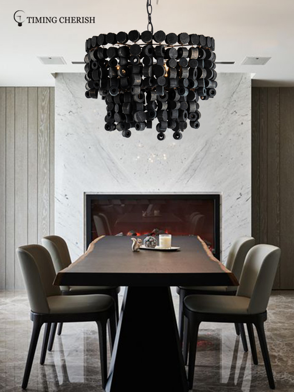 large fringe chandelier wood suppliers for bar-1