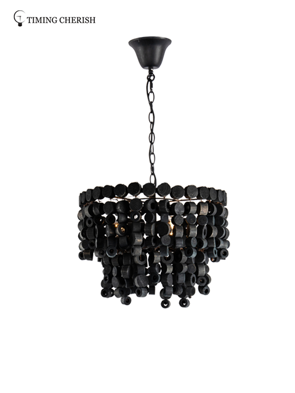 large fringe chandelier wood suppliers for bar-2